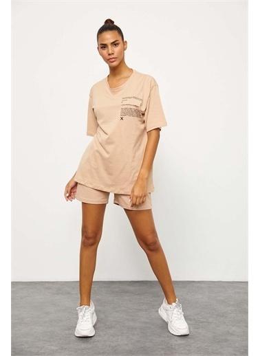 Setre Lila T-Shirt Şort Takım Bej